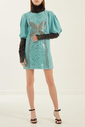 Платье с меховым воротником