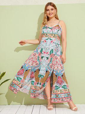 Платье на бретелях размера плюс с цветочным принтом и разрезом
