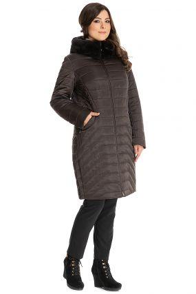 Пальто на верблюжьей подкладке с меховым капюшоном