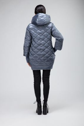 Удлиненная женская стеганая куртка О-силуэта