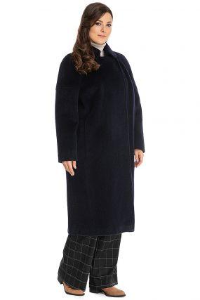 Длинное женское пальто кокон на большой размер