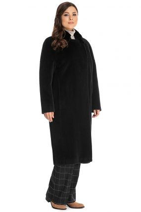Длинное пальто из альпака с меховым воротником из норки