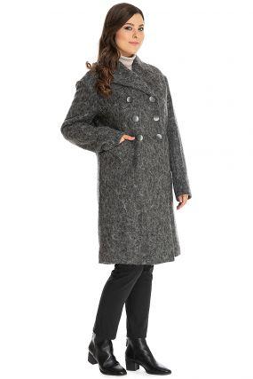 Мохеровое двубортное пальто