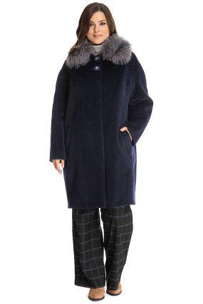 Пальто кокон с меховым воротником из лисы