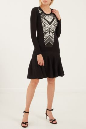 Мини-платье с контрастной отделкой
