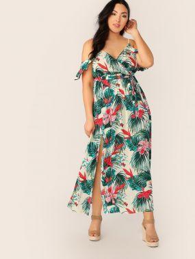 Платье размера плюс на запах с поясом и оборкой