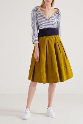 Комбинированное платье с контрастным низом