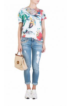 Узкие джинсы с бусинами