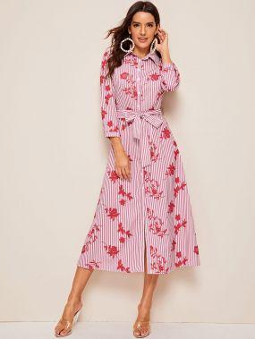 Полосатое платье миди с цветочным принтом и поясом