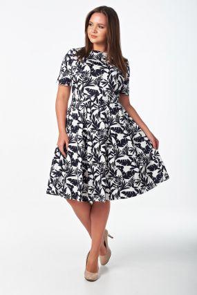 Женственное платье миди с юбкой со складками из хлопка