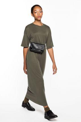 Платье-футболка Черешня хаки из модала (40-46)
