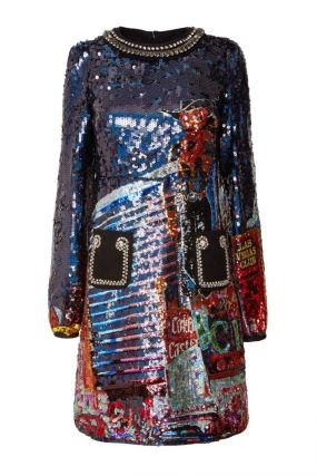 Разноцветное платье с пайетками