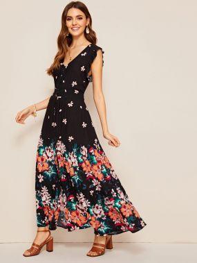 Длинное платье с пуговицами и цветочным принтом