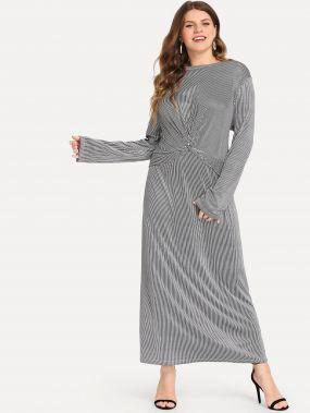 Плюс размеры витой спереди платье в полоску