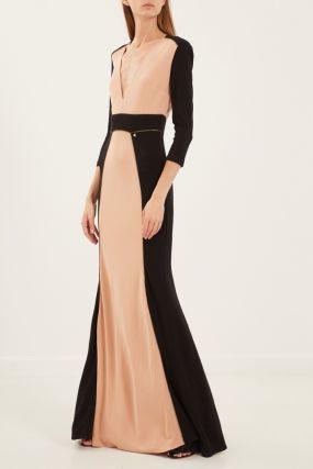 Длинное платье с контрастной отделкой
