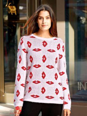 Пуловер Laura Kent Klingel, цвет белый, красный, рисунок