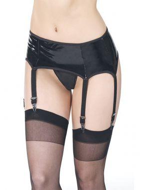 Черный пояс под винил с подвязками для чулок Coquette – XL