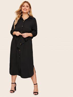 Платье-рубашка с разрезом и пуговицами размера плюс