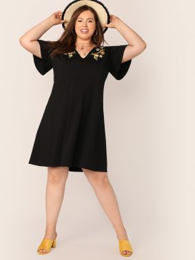 Платье с цветочным принтом, высокой талией и вышивкой размера плюс