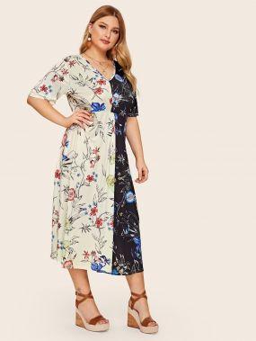 Контрастное платье с цветочным принтом размера плюс