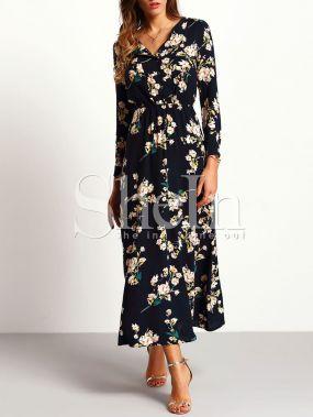 Тёмно-синее макси платье с принтом цветов с длинными рукавами