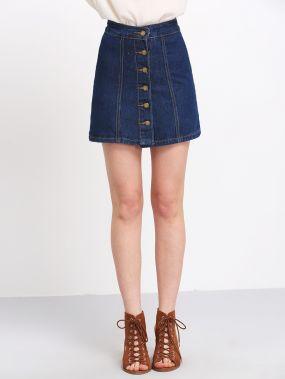 Синяя джинсовая юбка клеш