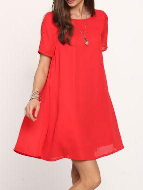 Красное платье с открытой спиной с короткими рукавами