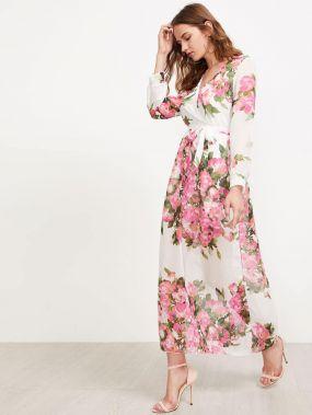 Модное шифоновое платье с поясом и цветочным принтом