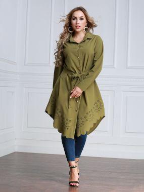 Модное платье-рубашка с поясом и фестонами