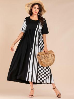 Контрастное платье в клетку с карманом и полосками