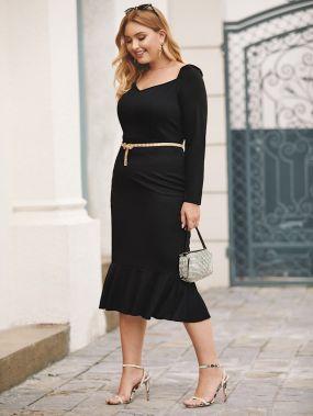 Платье-русалка размера плюс без пояса