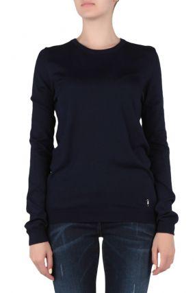 Удлиненный темно-синий свитер