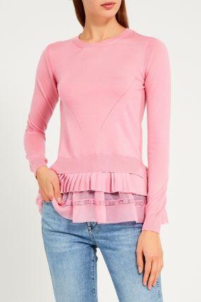 Розовый джемпер с многослойным низом