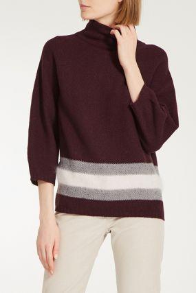 Бордовый свитер с контрастной отделкой