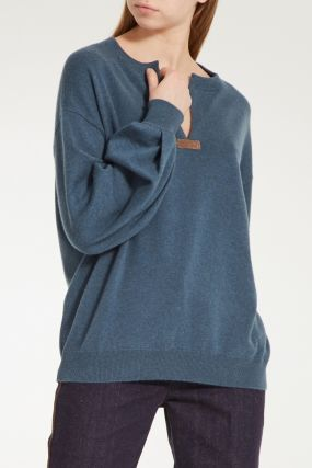 Кашемировый пуловер с V-вырезом