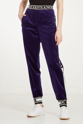 Фиолетовые велюровые брюки