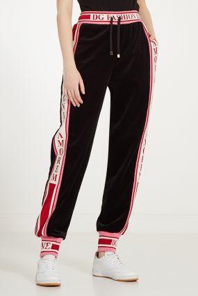 Велюровые брюки с контрастными лампасами