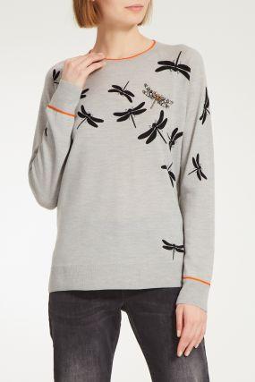 Серый джемпер со стрекозами