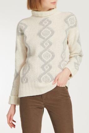Белый свитер с серым узором