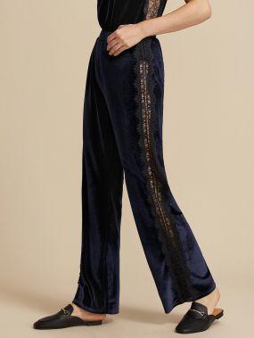 Премиум Бархатные брюки с эластичной талией и кружевной вставкой