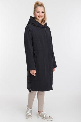 Длинное женское пальто на синтепоне с капюшоном