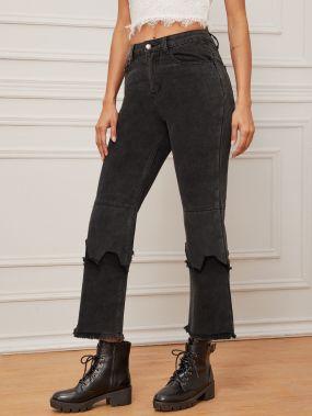 Короткие джинсы с необработанным низом без пояса