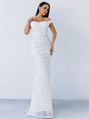 Missord платье-русалка с открытыми плечами и блестками