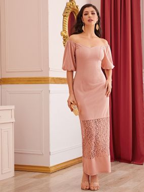 Платье с кружевной вставкой и пышными рукавами