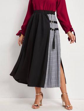 Контрастная юбка в клетку с разрезом