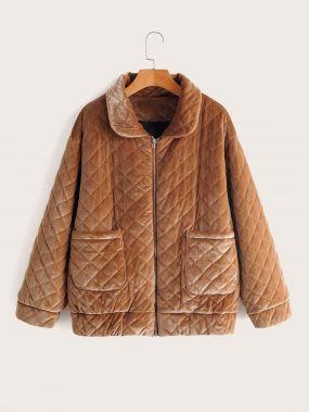 Бархатое пальто на синтепоне с молнией