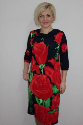 Платье трикотажное Розалинда (красные розы)