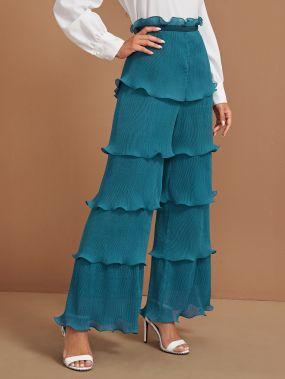 Плиссированные широкие брюки с оригинальной отделкой