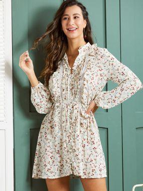 SBetro платье-рубашка с цветочным принтом и кружевом