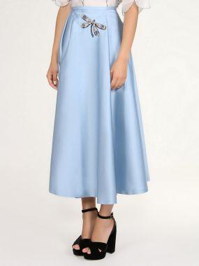 Голубая юбка-колокол с декором